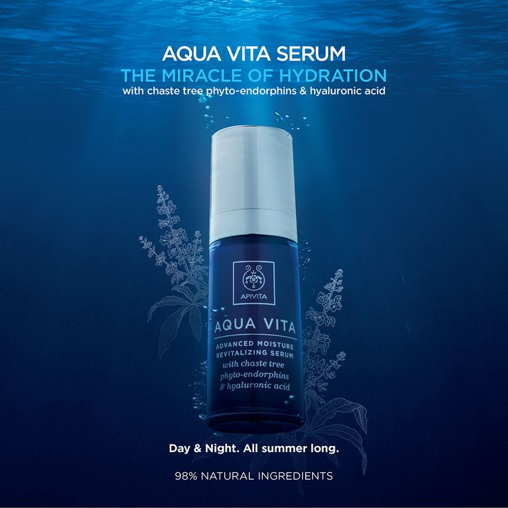 #AquaVita #serum: The most valuable ally to bring back to our face its #moisture & elasticity! Face serum with chaste tree phyto-endorphins and hyaluronic acid, thanks to the innovative design of which proper function of all natural mechanisms for the moisturization of the skin is restored and triggered. Intensive moisturization – #Revitalization #Protection from Premature Aging