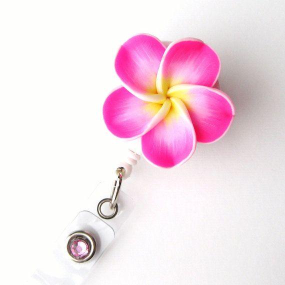 Hot Pink Plumeria - Retractable ID Badge Reels - Flower Badge Holder - Designer ID Reel - Nurse Gift - Pretty ID Badge Clips - BadgeBlooms