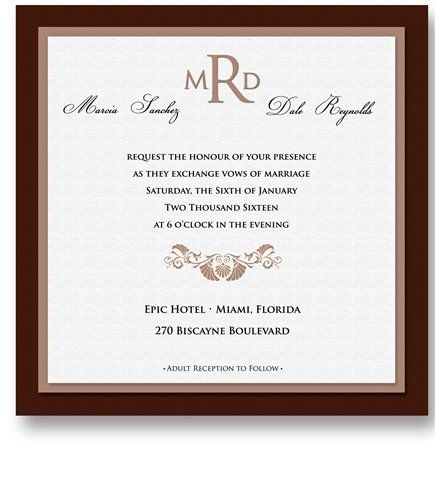 200 Square Wedding Invitations - Vizcaya Chocolate by WeddingPaperMasters.com. $520.00. Now you can have it all! We have created, at incredible prices & outstanding quality, more than 300 gorgeous collections consisting of over 6000 beautiful pieces that are perfectly coordinated together to capture your vision without compromise. No more mixing and matching or having to compromise your look. We can provide you with one piece or an entire collection in a one stop sh...