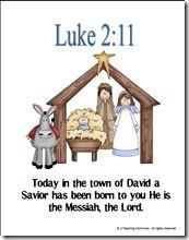 Printables to help kids memorize Luke 2:11.