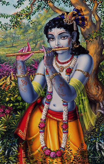 Krisha with flute, painted by Vrindavan Das