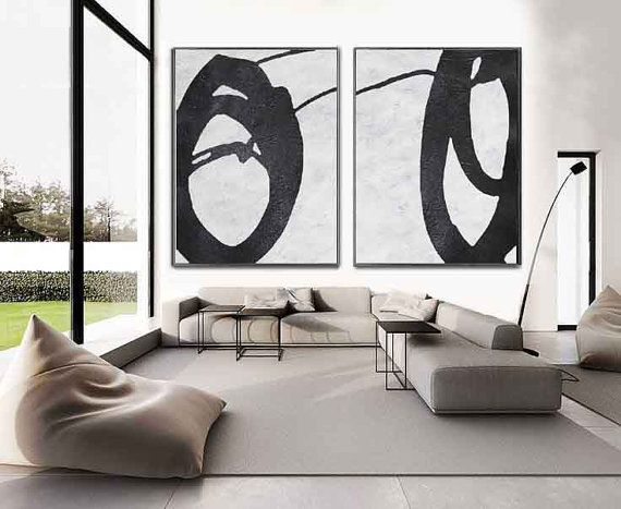 Set Of 2 Huge Contemporary Art Acrylic Painting di CelineZiangArt