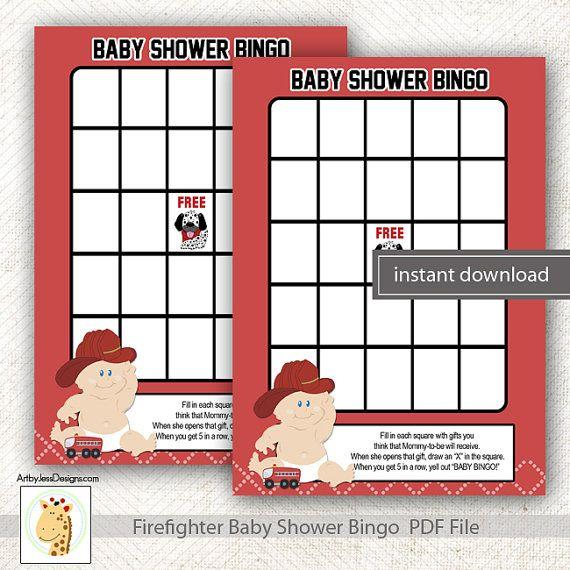 Baby Fireman Firefighter Printable Boy Baby Shower Bingo Game PDF File  INSTANT DOWNLOAD Bs 102
