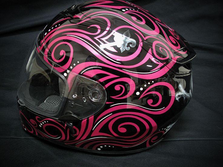 painted motorcycle helmets | Flourish Helmet - Motorcycle Painting by Xtreme Kreations