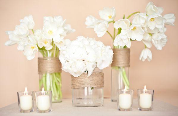 twine wrapped vases