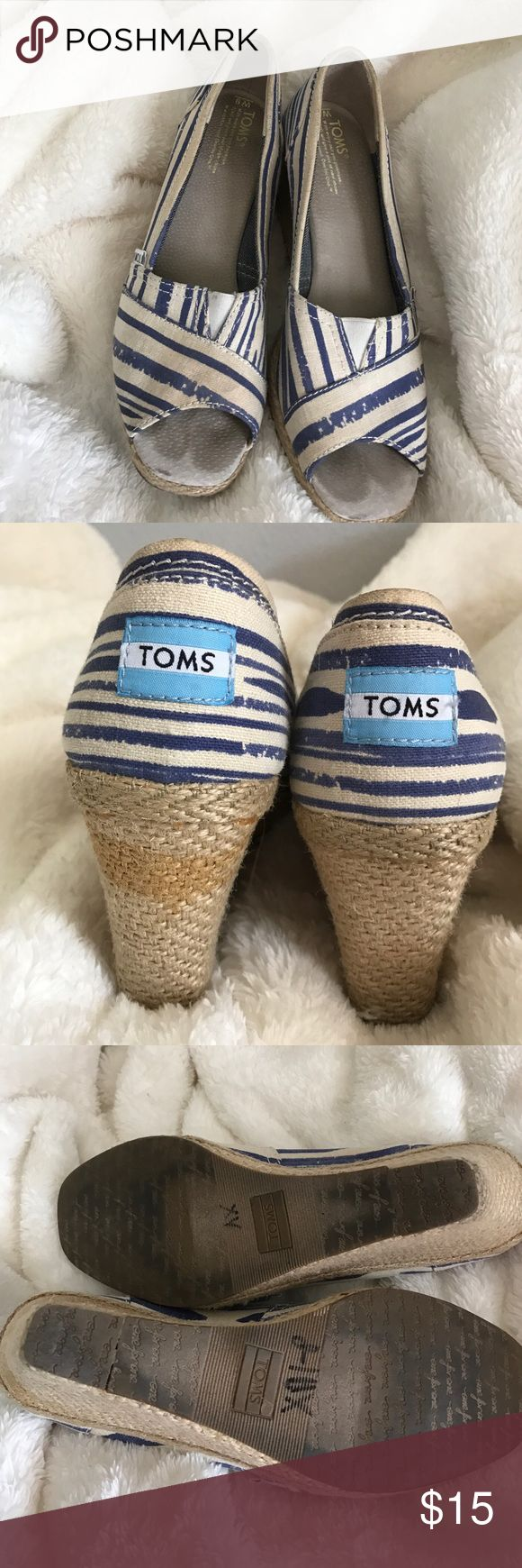 TOMS wedges Tom wedges. Preloved. Need a cleaning but I'm afraid to make it worse lol they still have lots of life left. TOMS Shoes Sandals