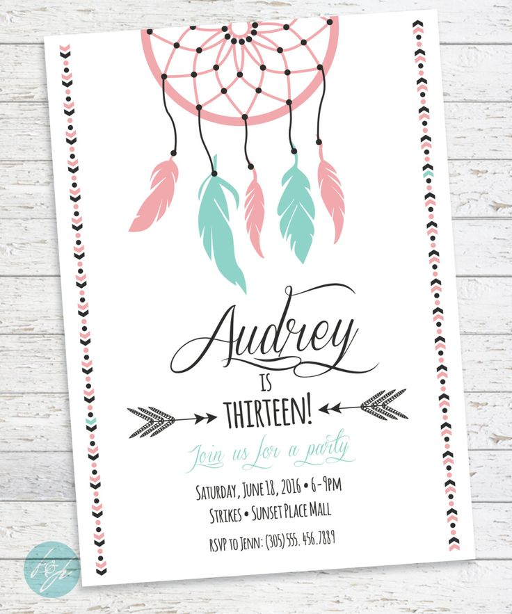 Boho Birthday Invitation, Aztec Tribal Invitation, Bohemian Printable Invitation, Dream catcher, Boho, Sweet 16, Teen Birthday, Tween by FlairandPaper on Etsy