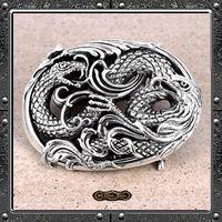 Silver Eagle And Snake Belt Buckle