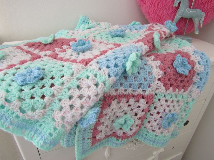 Handmade, Crochet Blanket, Pastel Colour, Granny Squares with  Flower centerpiece, settee throw, chair throw, bed throw, baby, unique, gift, by LilyRoseCrafts1 on Etsy