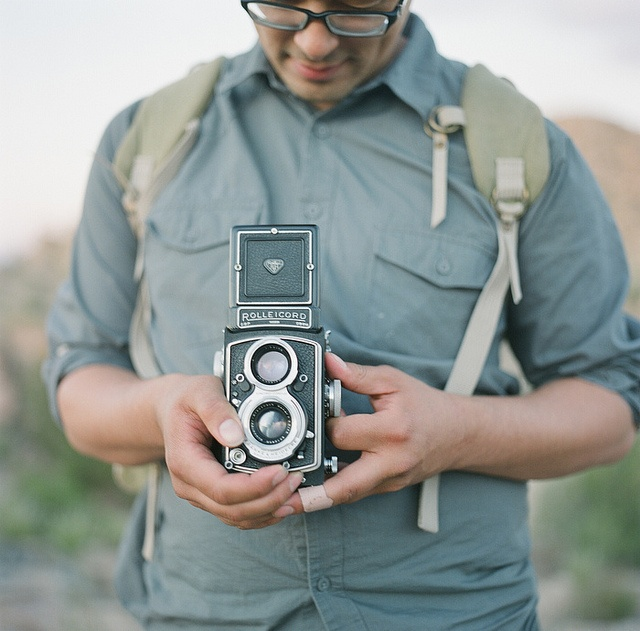 Getting the shot with an old Rolleicord camera.