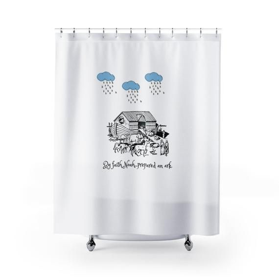 Noahs Ark Shower Curtain Bible Verse Shower Curtain Noahs Ark Bath
