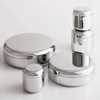 Jasper Morrison Boxes - Alessi; doesn't seem to be available anymore, at least not as a set (individual pieces can be $80+) but I like the look of them, maybe find something similar? (KLH)