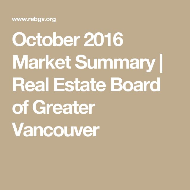 October 2016 Market Summary | Real Estate Board of Greater Vancouver