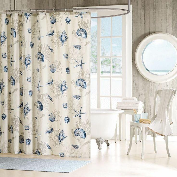 Seashells Shower Curtain Beach Theme Cotton