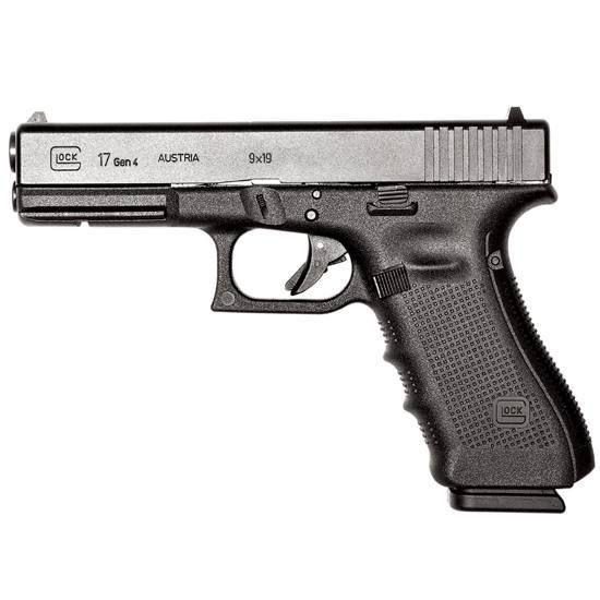 GLOCK 17 Gen 4 Semi Auto Handgun 9mm , 4.49 Barrel 17 Rounds Polymer Frame Interchangeable Backstraps Black