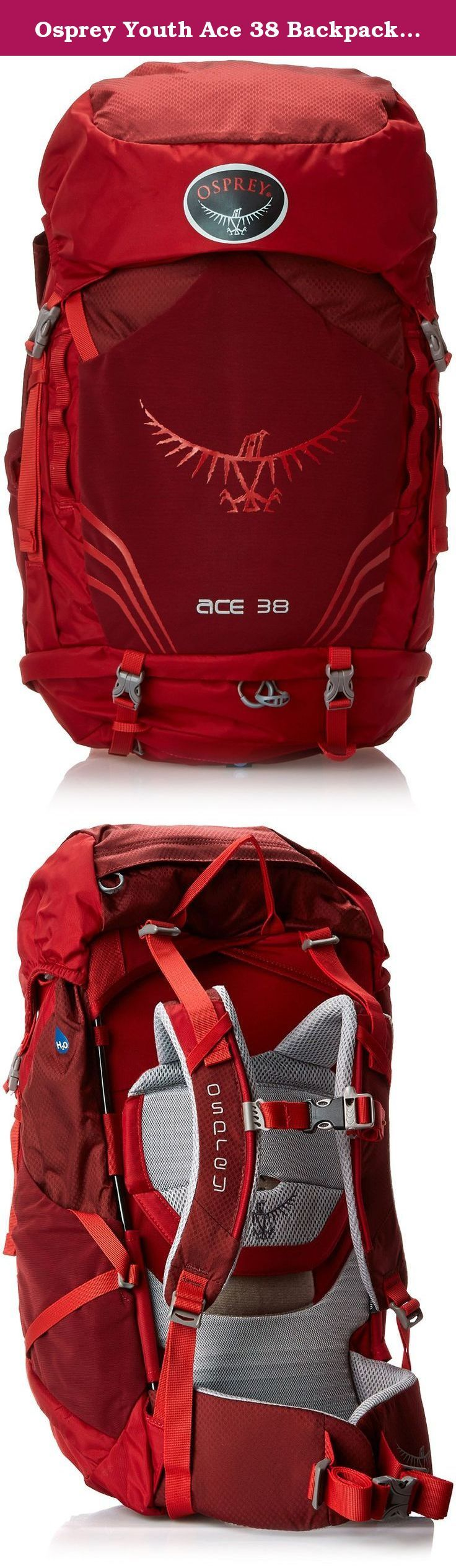 Osprey Youth Ace 38 Backpack, Paprika Red, One Size. The Ace 50 is a technical backpack for young outdoor enthusiasts ages 8-14. The referenced age range is a recommendation only. Height and weight may vary from child to child.