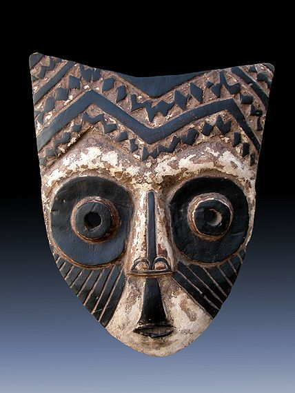Africa | Mask from the Kuba people of DR Congo | Wood, kaolin and pigment