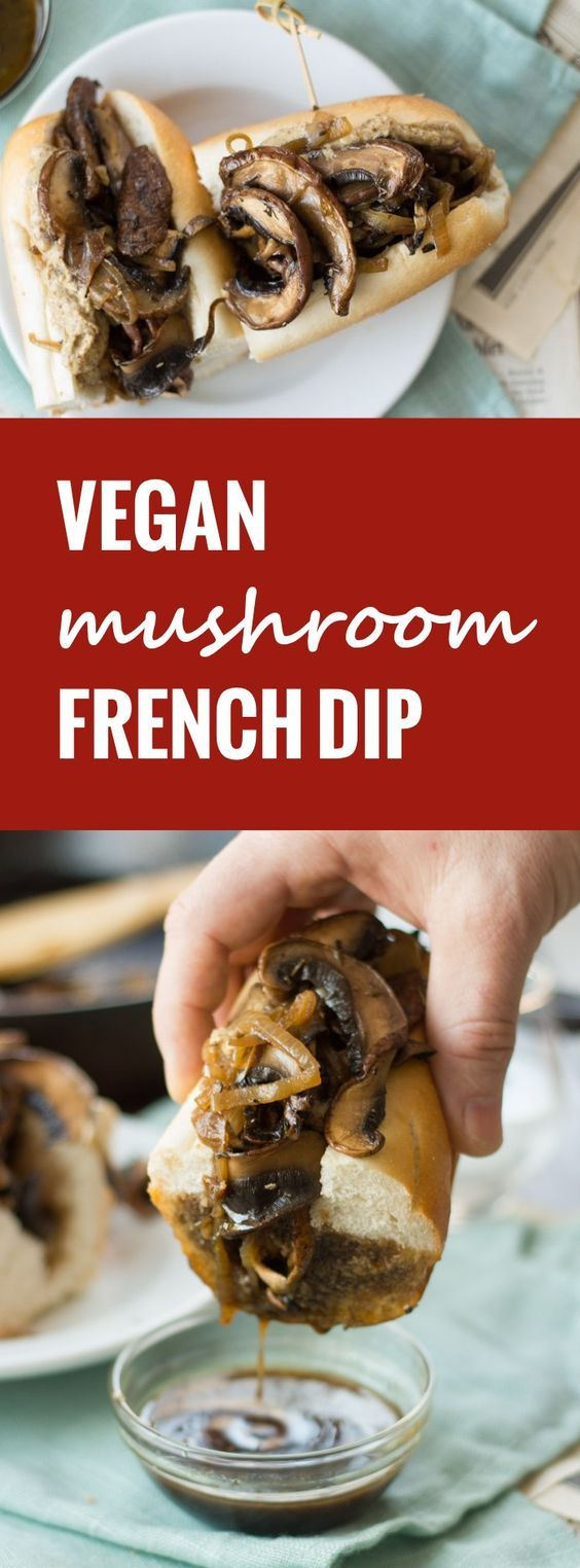 These vegan French dip sandwiches are made with sautéed portobellos dressed in spicy horseradish mustard and served ready for dipping in savory vegan au jus.