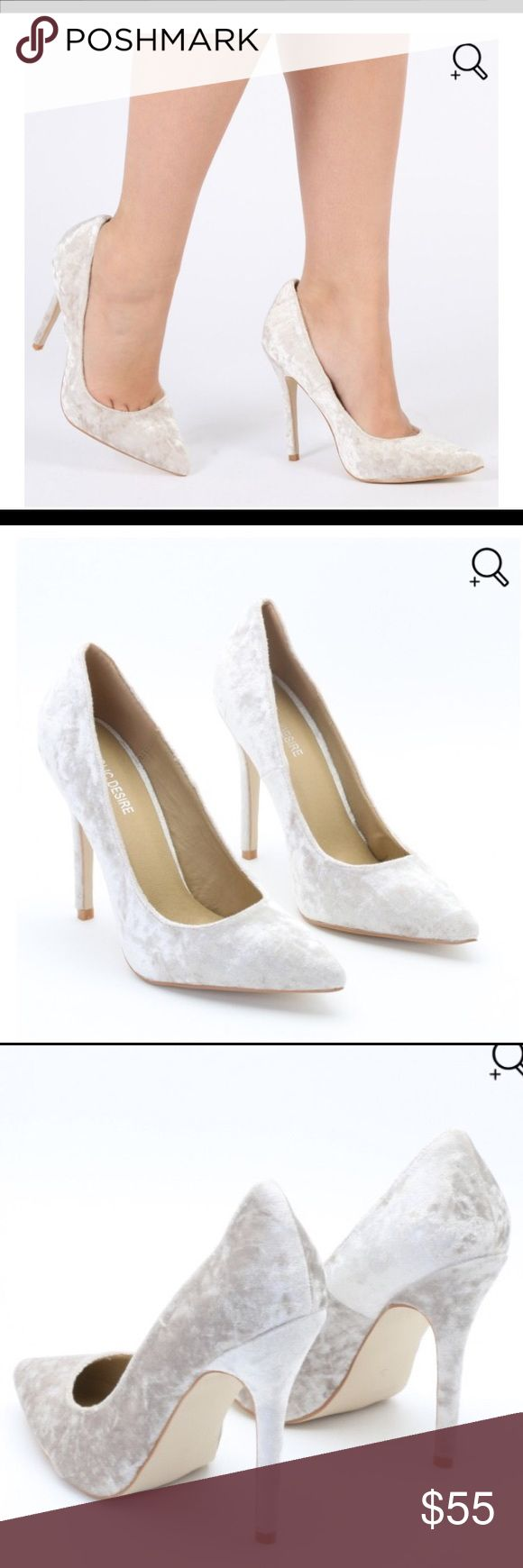 "Public Desire Crushed Velvet Cream Pump Brand New in original box! Public Desire Crushed Velvet Cream Pump- Size 5 runs true to size/////.                                                          Put your best (and most stylish) foot forward in our luxe crushed velvet court pumps. We're loving the stiletto heel and pointed toe. Team with a killer block colour on trend trouser suit.     Heel height: 4.5"" / 11cm Material: Synthetic, Manmade Crushed Velvet public desire Shoes Heels"
