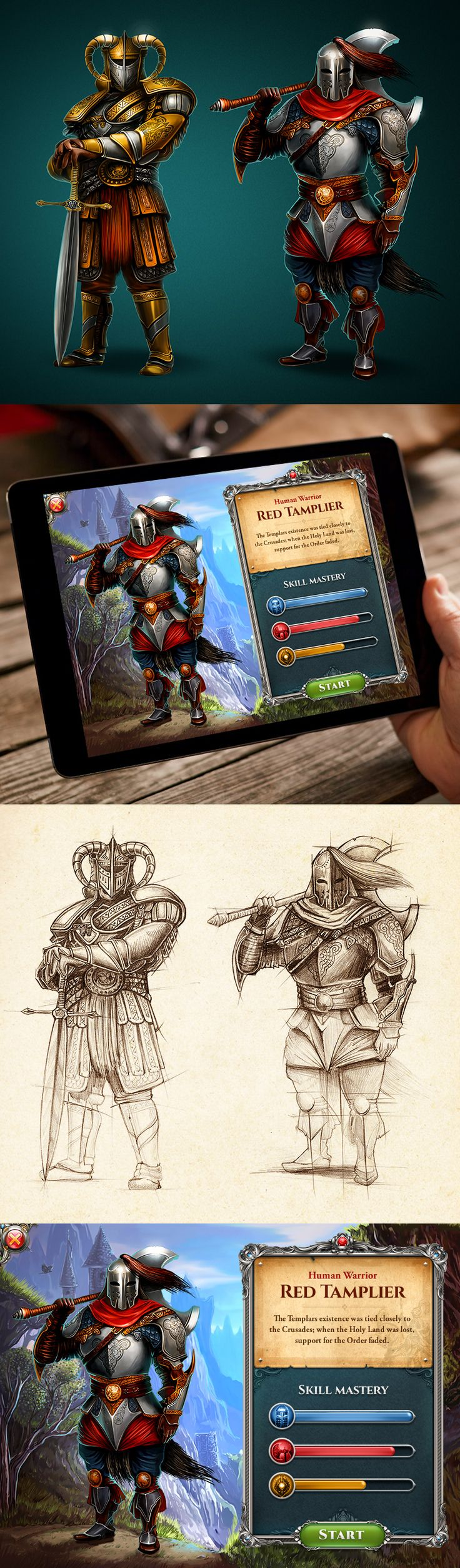 Another part of the interface for a role-playing game, including character design and game art.