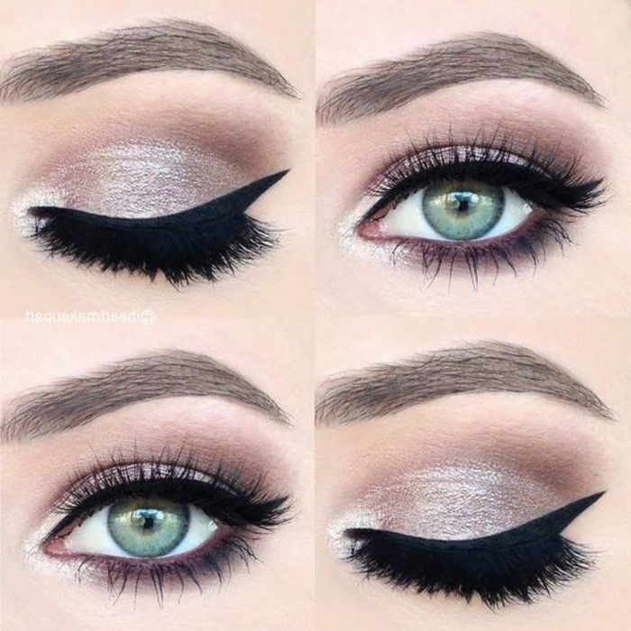 3 maquillage yeux verts fard a paupiere en rose argenté yeux vert