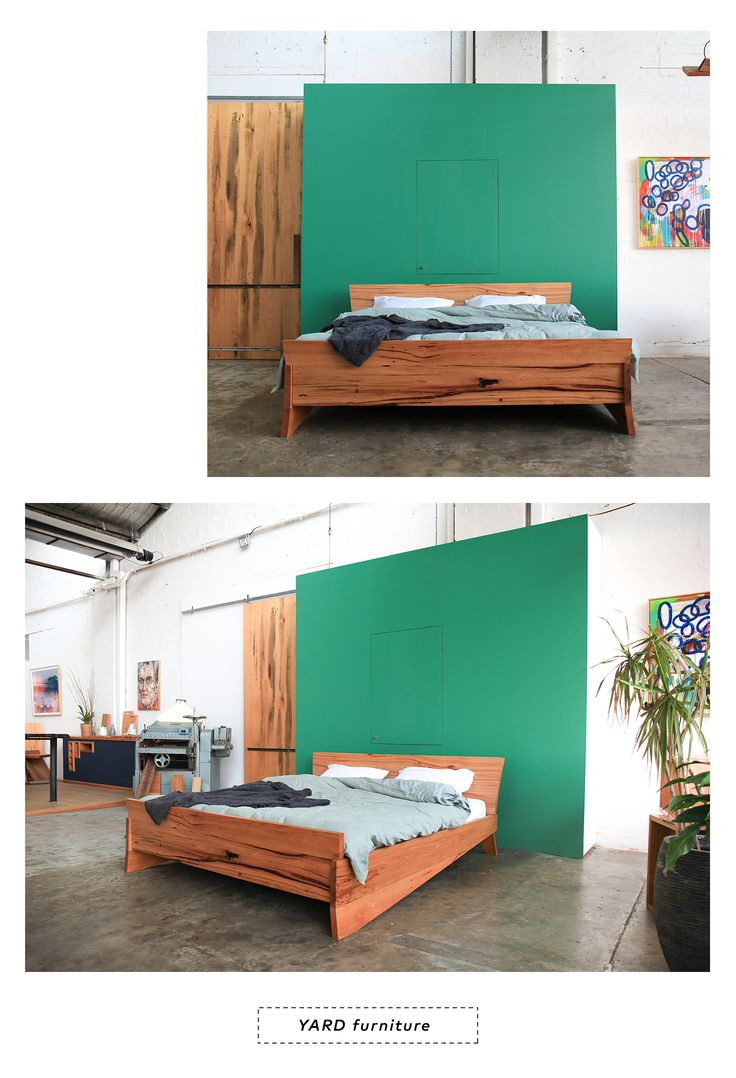 YARD Furniture, custom recycled timber furniture Melbourne Australia. The Kumo Bed, made from recycled messmates.