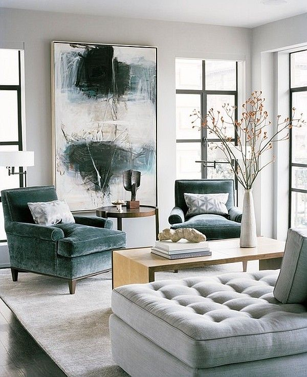 Modern living room with artwork and fancy sofa