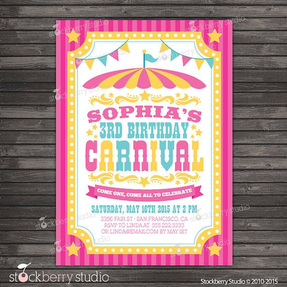 Carnival Birthday Invitation Printable Circus by stockberrystudio