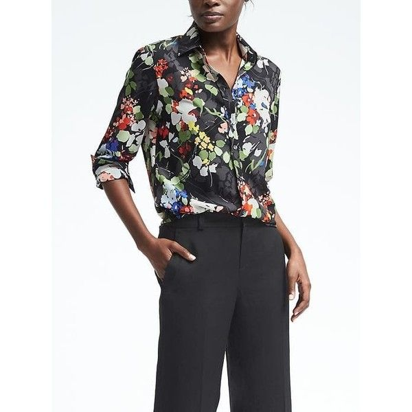 Banana Republic Womens Dillon Fit Floral Blouse ($78) ❤ liked on Polyvore featuring tops, blouses, black, petite, floral shirt, flower print shirt, shirt blouse, long sleeve tops and floral print shirt