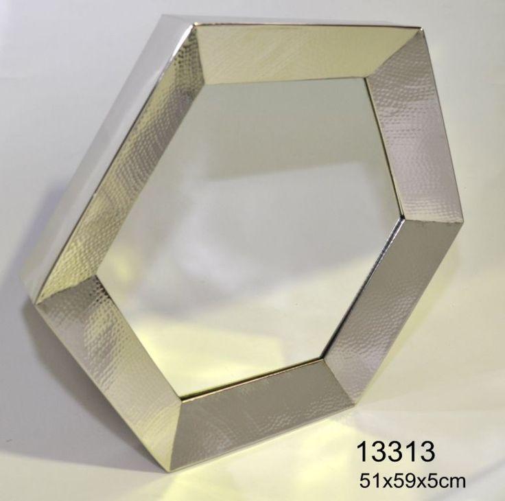 Hammered nickel hexagonal mirror