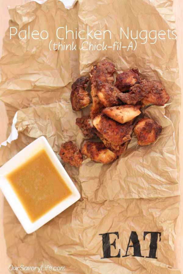 Paleo Chicken Nuggets (Chick-fil-A style)! You probably already have all the ingredients and they are so YUMMY! #grainfree #paleo #chicken