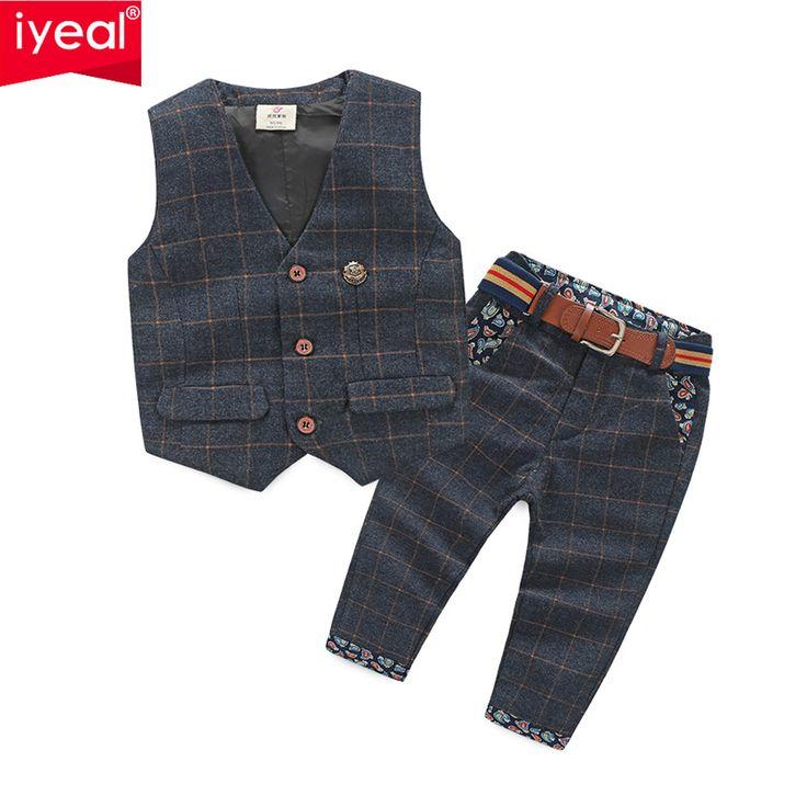 Baru Kedatangan Bayi Laki-laki Pakaian Set Plaid Gentleman Gugatan Bayi Balita Anak Laki-laki Rompi + Celana Anak Pakaian Set Pakaian 2-8 Usia