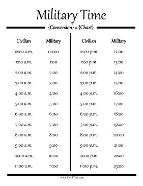 Convert civilian hours to military time with this printable conversion chart. Free to download and print
