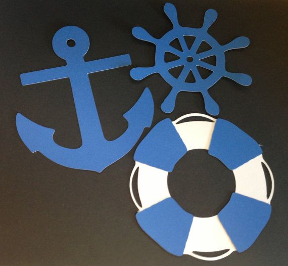 "30 4"" Nautical DieCuts/Cutouts Anchor Helm Live Preserver for scrapbook, decorations, party favors, cupcakes on Etsy, $7.50"