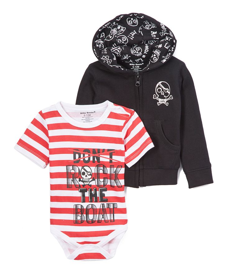 Rock the Boat, baby boys sweat shirt and onesie in black, red and white - Silly Souls