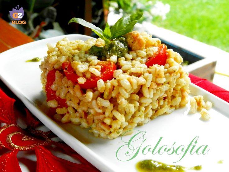 Insalata di farro e orzo, con pesto, tonno e pomodorini-ricetta primi piatti-golosofia