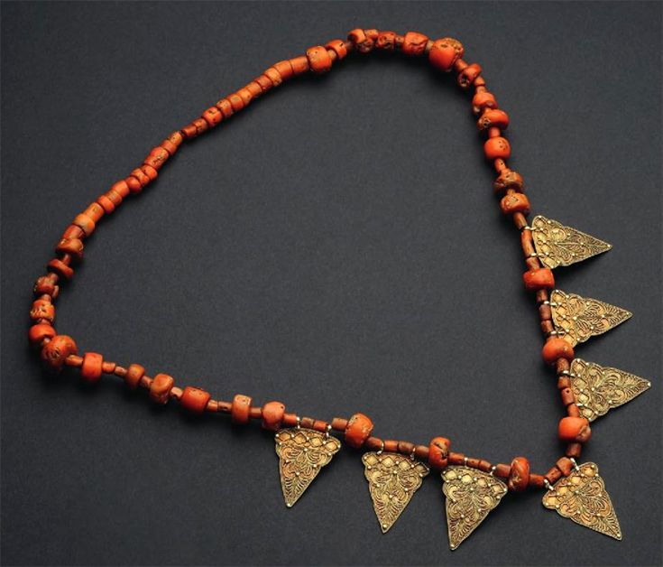 Indonesia ~ Sumatra, Minangkabau | Woman's necklace; coral beads, gilded silver ||| Source; Ethnic Jewellery from Indonesia: Continuity and Evolution. Bruce W Carpenter. Pg 32