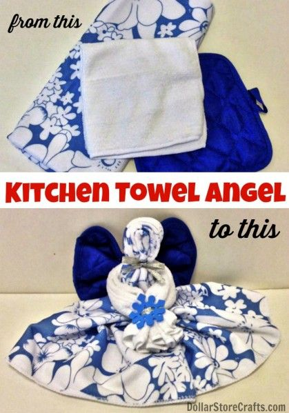 Make a kitchen towel angel from dollar store stuff - dollarstorecrafts.com