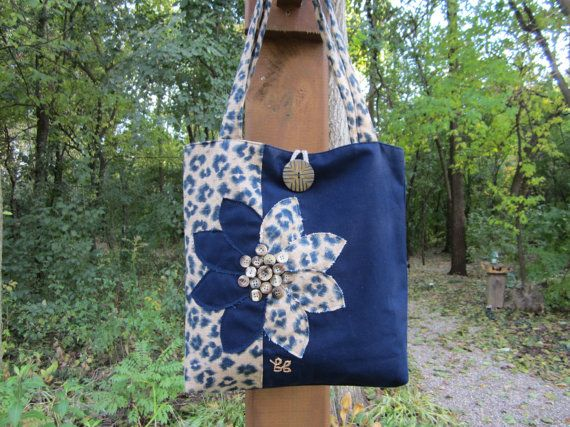 Handmade leopard print tote bag blue/tan. by BerkshireCollections, $45.00