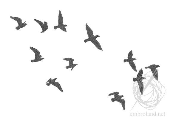 Birds Seagulls Machine Embroidery Design Instant Download