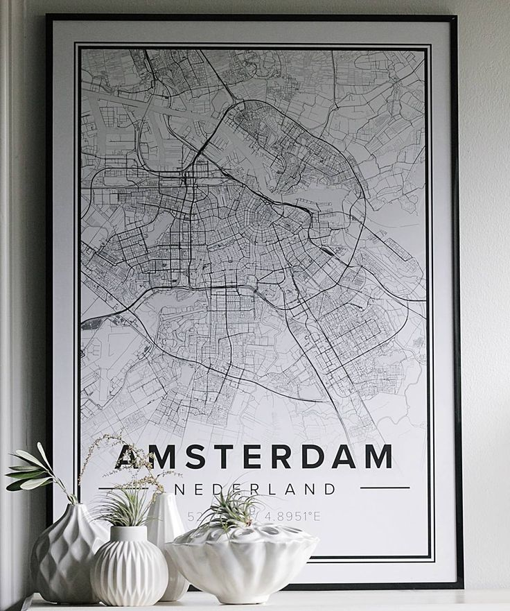 "Map poster of Amsterdam. Print size 50 x 70 cm. Custom black and white map posters online. Use code ""PINTEREST"" - 10 % OFF + FREE shipping at Mapiful.com"