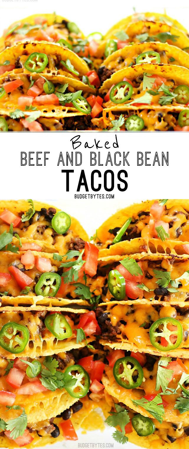 Baked Beef and Black Bean Tacos are a fast and easy way to take Taco Tuesday to the next level. BudgetBytes.com