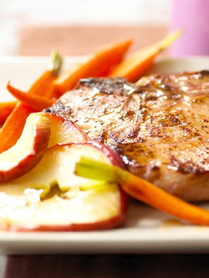 Apples and pork play well together in this everyday easy meal. Even with the addition of carrots this quick dinner is done in 20 minutes.