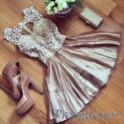 2016 cute lavender lace satin short prom dress, evening dress for teens,vintage…