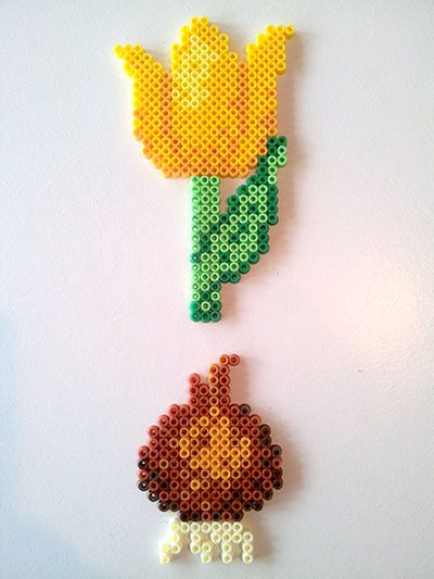 Yellow tulip with bulb hama perler beads