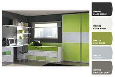 Combinación de tonos grises y verdes.