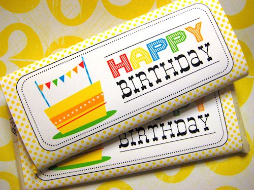Happy Birthday Candy Bar Wrapper  - designed by HelloCuteness.com (formerly AnythingbutPerfect.com) for exclusive download via ThePrintableCottage.com.