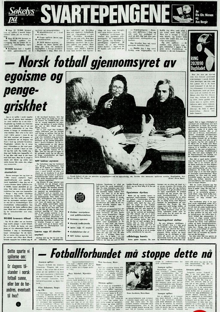 6. November 1970 Dagbladet  Svarte penger i norsk fotball
