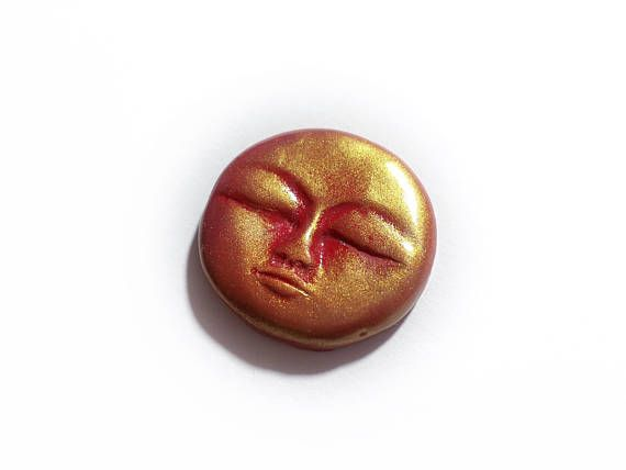Full Red Moon Red Moon Cabochon Red Moon Face Clay Red