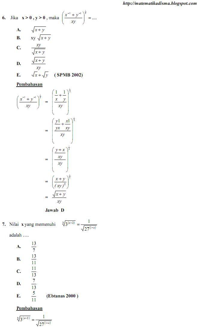 Os2kangkung Soal Dan Pemb Un Matematika Bab Bentuk Pangkat Akar Dan Logaritma Matematika Pendidikan